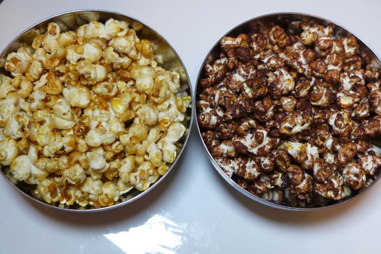 Pop corn chocolat et pop corn caramel