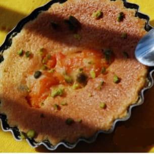 mini-clafoutis abricots, rhum et pistaches