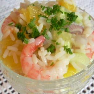 salade de riz à l'orange et aux crevettes