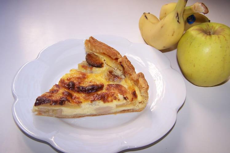 Tarte pommes, bananes et crème vanillée