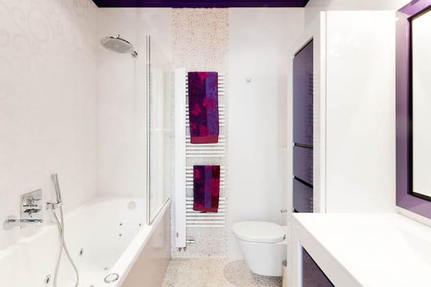Une salle de bains en blanc et violet for Salle de bain mauve et blanc