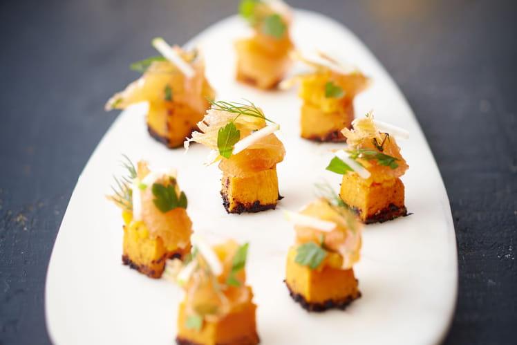 Saumon de Norvège gravlaks et cube de Butternuts