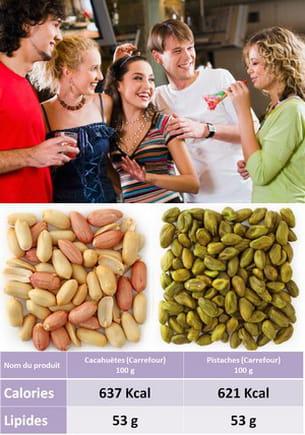 cacahuètes contre pistaches.