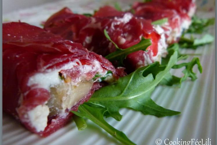 Roulés de bresaola, aubergines et fromage frais