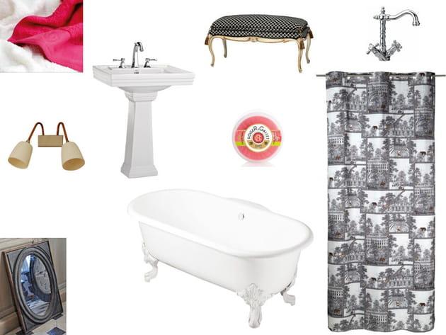 Planche de style salle de bains rétro
