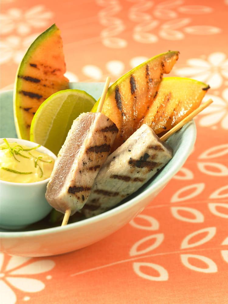 Recette de melon philibon et thon grill la plancha la recette facile - Recette steak de thon grille ...