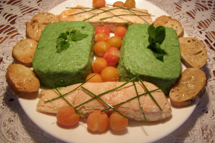 Filets de saumon et purée de poivrons