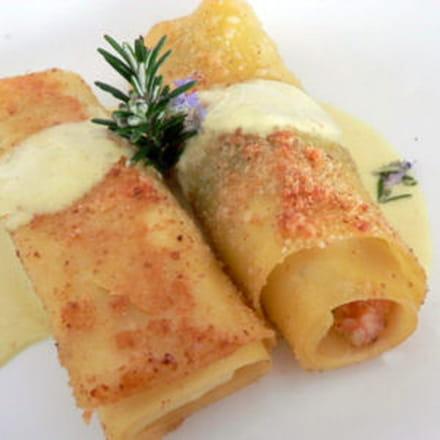 cannelloni au saumon, sauce au curry