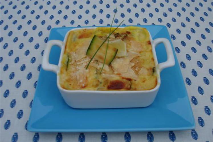 Lasagnes de courgettes grillées et rouget au safran