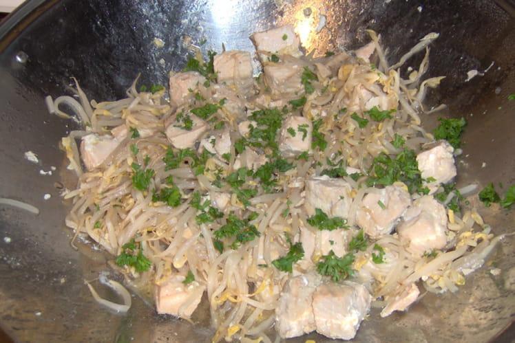 Sauté de soja au saumon et gingembre