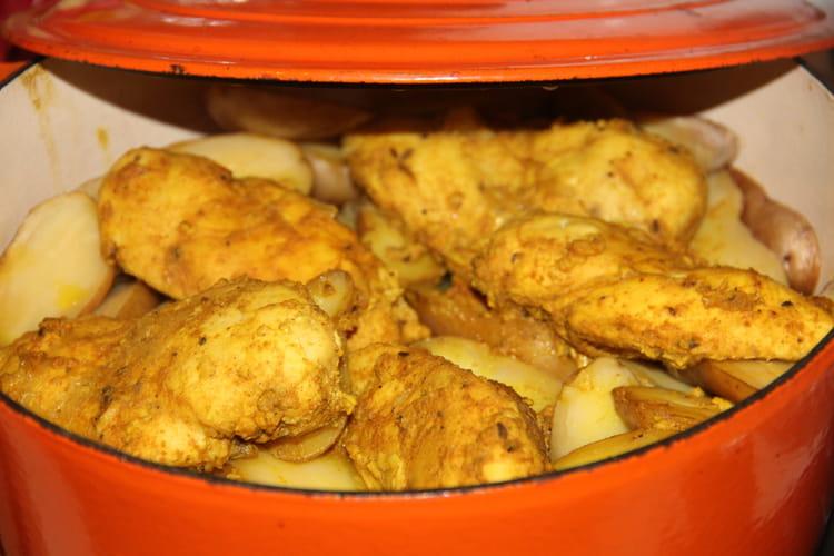 Cocotte boulangère a la choucroute et au poulet