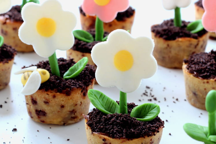 Cookies chocolat oréo façon pot de fleur