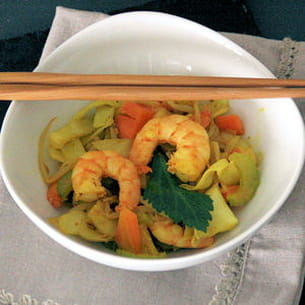 wok gambas et légumes croquants