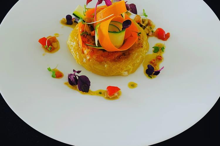 Pastilla de gambas, oignons et citrons confits aux graines de fenouil, sauce vierge