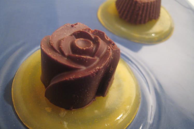 Chocolat caramel et sa gelée passion