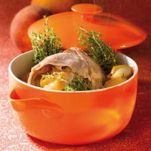 râble de lapin farci aux pêches et au thym frais