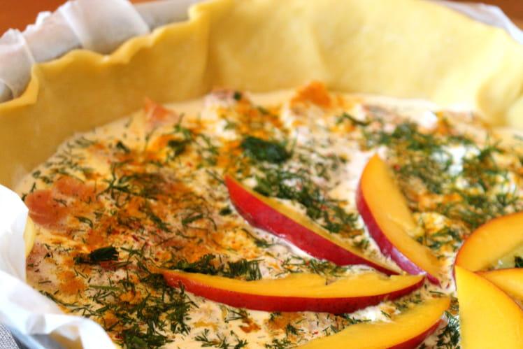 Tarte saumon-mangue à la crème de coco