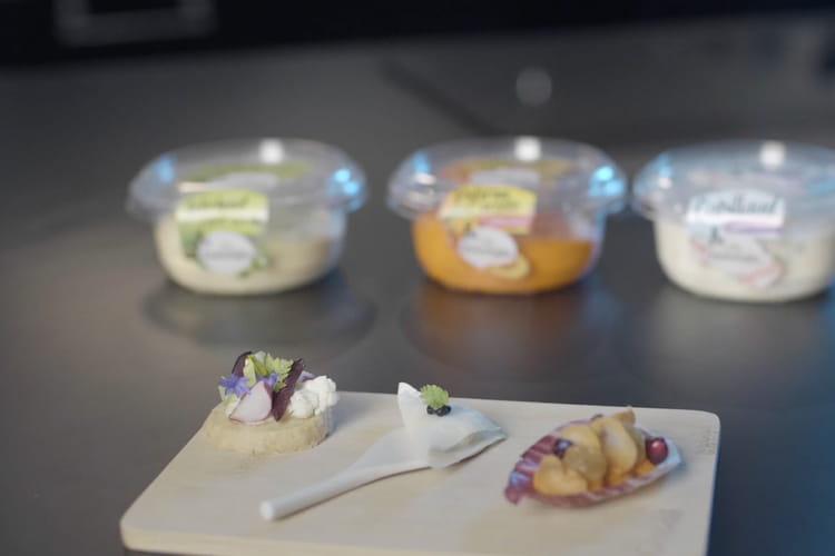 Endives Carmine, copeaux de carotes, grenades, raisins sec et Boursin® Potiron et Carote