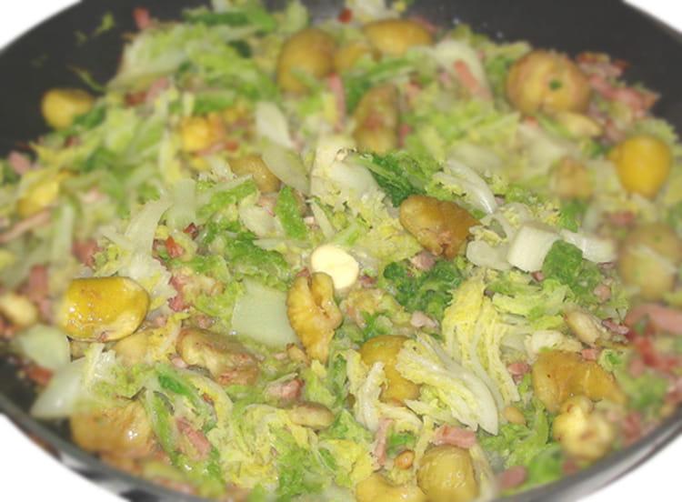 recette de chou vert aux châtaignes la recette facile