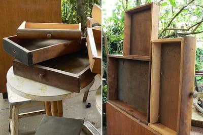 les tiroirs vides vont être transformés en présentoirs