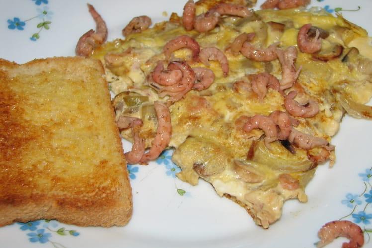 Omelette de fête aux crevettes grises