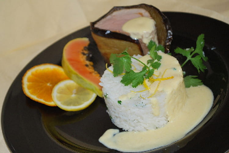 Mignon de porc aux aubergines, sauce aux agrumes