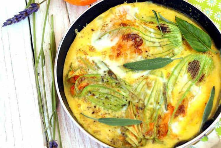 Omelette aux fleurs de courgette et brochette de demi-abricots