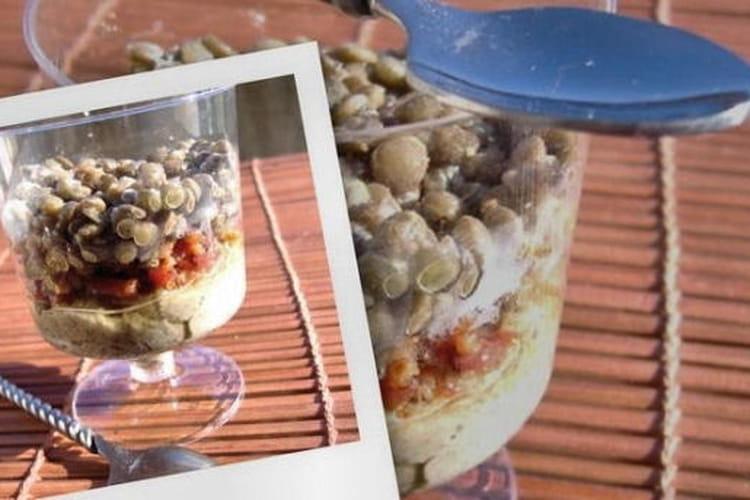 Chaud-froid de lentilles en verrine