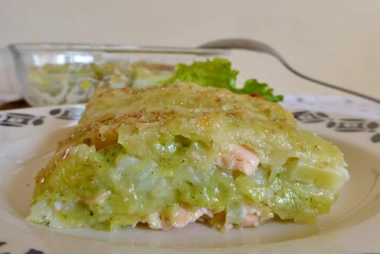 Lasagnes de ravioles aux poireaux et saumon