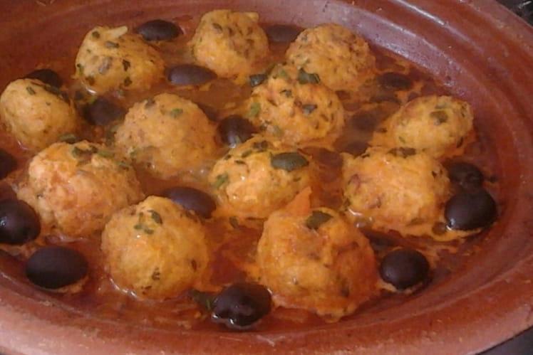 Tajine de boulettes de poulet aux olives
