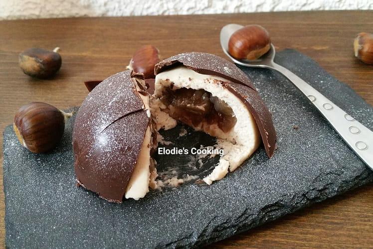 Dôme chocolat, mousse de marron et son coeur de marron glacé