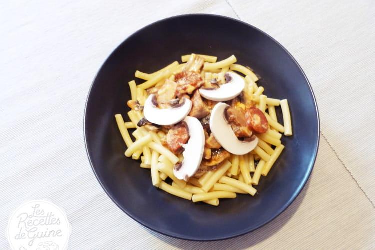 Macaronis aux champignons et chorizo