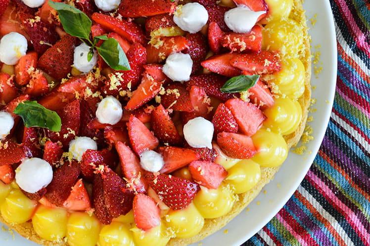 Tarte fraises citron basilic
