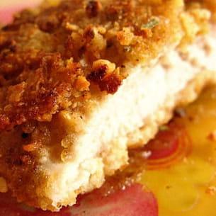 escalopes de poulet panées aux corn flakes, cacahuètes