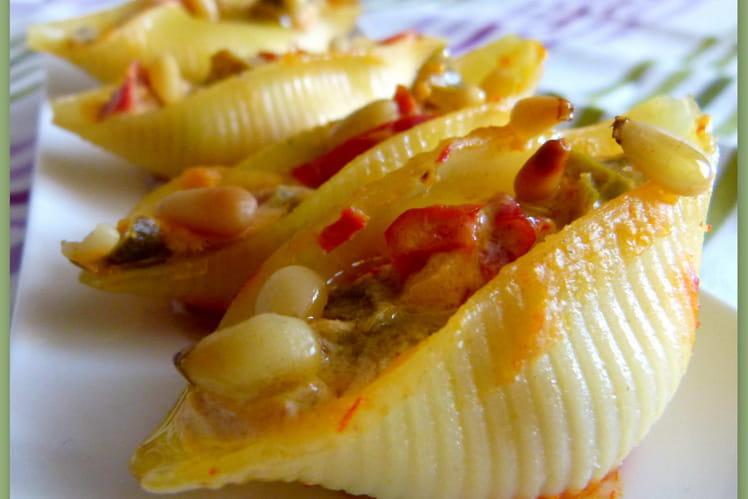 Conchiglie farcis aux poivrons et au brocciu