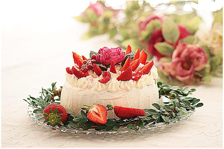Délicieux gâteau fraises chocolat