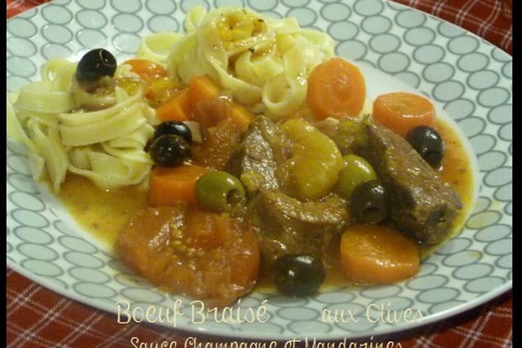 Bœuf braisé aux olives sauce champagne et mandarine