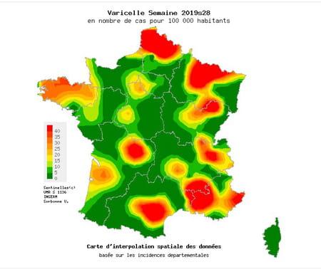 carte varicelle épidémie en France