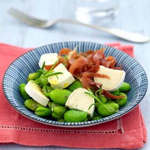 salade de fèves et émincé de jambon croustillant à à l'en cas de caprice
