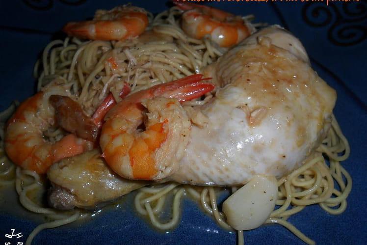Poulet aux crevettes, à l'ail et au piment