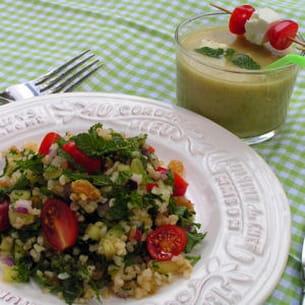 soupe froide de concombre & menthe alvalle, taboulé