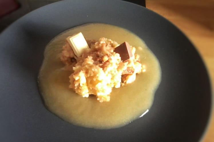 Crumble pomme-poire et chocolat