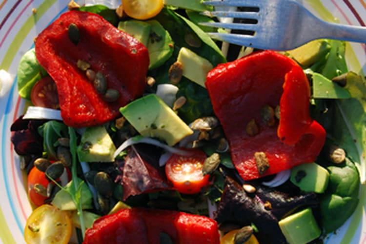 Salade aux poivrons grillés et graines de courge