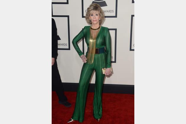 Jane Fonda en combinaison verte Balmain