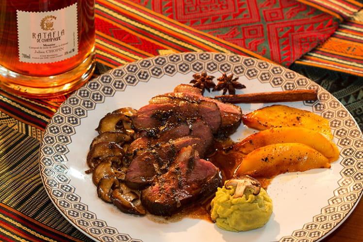 Magret de canard au Ratafia de Champagne, mangues rôties à la vanille et Shiitakés