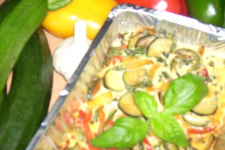 Petit gratin express courgette-poivron