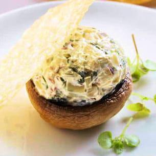 champignons farcis blette et fromage à la crème elle & vire