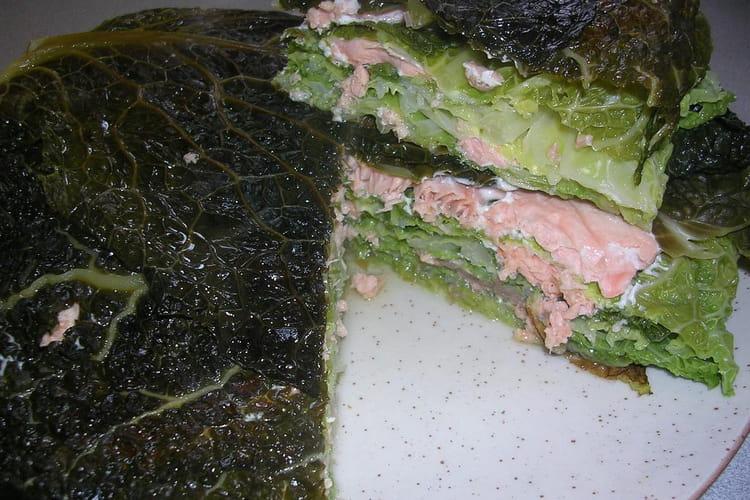 Millefeuille de chou aux deux saumons