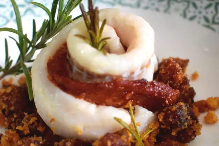 Roulé de filet de merlan au chorizo