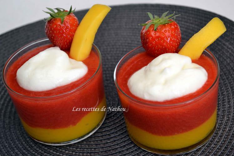 Mousses fraise et mangue, nuage de yaourt vanillé